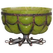 huge art deco glass and wrought iron bowl in the style of majorelle for
