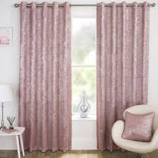 Halo Ready Made Blockout Eyelet Curtains Pink