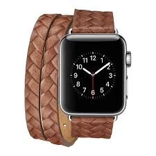ipm luxury leather braided double wrap watch band for apple watch 42mm brown