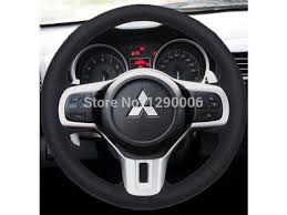 black genuine leather steering wheel cover for 2009 2010 2016 2016 2016 2016 2016 mitsubishi lancer