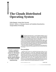 Distributed Operating Systems Concepts And Design Pdf Download Pdf The Clouds Distributed Operating System