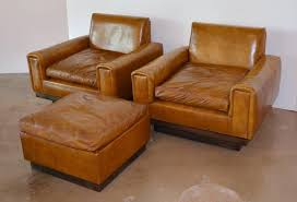 mid century modern mid century french cognac leather club chairs and ottoman for