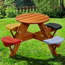 large round wooden garden table and chairs designs