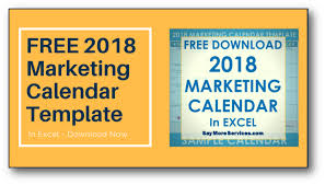 2018 Marketing Calendar Template In Excel Free Download