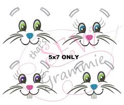 Bunny Face Embroidery Design Bunny Faces Embroidery Design 5x7 Only Sewgrammie
