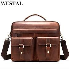 genuine leather man a4 doents business bag