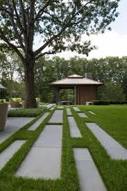 Garden Design Hard Landscaping Ideas Linear Paving Pattern Leads To The Pool Pavilion Landscape