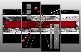 large red and black abstract canvas artwork picture 4 pieces multi panel split canvas completely ready on red canvas wall art uk with red canvas pictures amazon uk