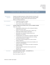 Captivating Sample Volunteer Resume Template On Nursing Home