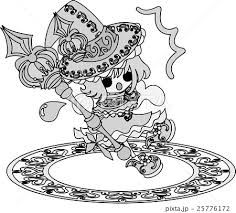 お洒落で可愛い魔法使いの女の子のイラストのイラスト素材 25776172