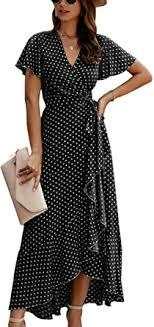 ECOWISH Women's Dresses Bohemian Wrap V Neck Short Sleeve ...
