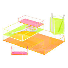 Poppin Neon Orange Acrylic Accessory Trays