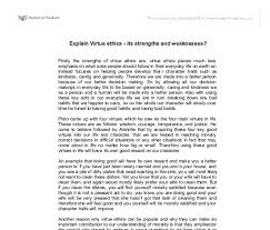 explain virtue ethics its strengths and weaknesses gcse  document image preview