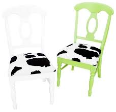 cow print chairs in green and white a pair eclectic