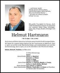 Helmut Hartmann Todesanzeige Vn Todesanzeigen