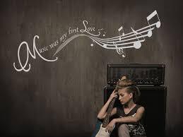 Wandtattoo Music Was My First Love Mit Noten Wandtattoosde