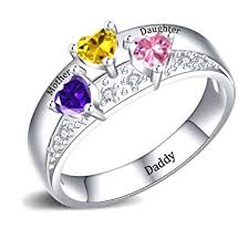 YokeDuck Mothers Ring with 3 Birthstones <b>Personalized</b>, <b>925</b>