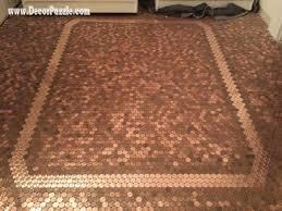 penny floor, copper penny tile floor