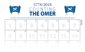 Chart For Counting The Omer Counting The Omer Calendar 2018 Stickers Emet Hatorah