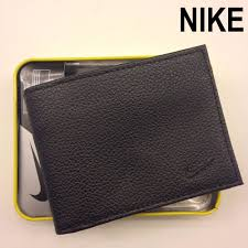 details about nib nike mens black bifold passcase premium pebble grain leather wallet nib nwt