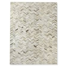 pieced chevron hide rug grey
