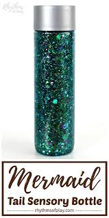mermaid tail glitter sensory bottle diy great birthday party favor