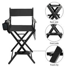 details about new professional wood directors chair makeup artist light weight foldable black