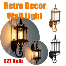 French Provincial Outdoor Wall Light Sconce Metal Lantern Glass Shade 1 Lamp Art