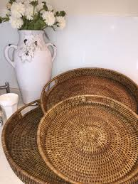 xl round rattan tray 48cm serving tray dark brown elegant handwoven cane