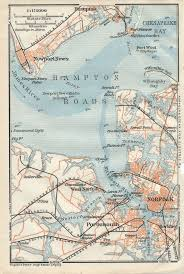 1909 Antique Map Of Norfolk And Newport News Virginia Map