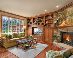 Example of a classic family room design in Other with a corner fireplace  and a stone