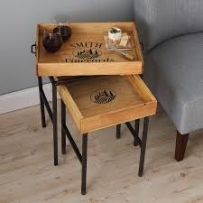 Personalized Wine Crate Tray Nesting Tables - Wine Enthusiast