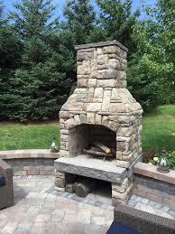 stone outdoor fireplace in royal oak michigan
