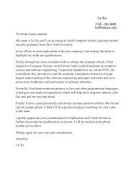 Computer Science Cover Letter Lu Xu Cover Letter