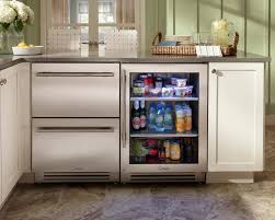Kitchen:L Shaped Kwhite Polished Wood Kitchen Cabinet With Tile Countertop  And Undercounter Kitchen Refrigerator
