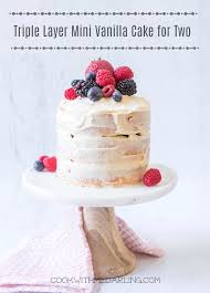 Triple Layer Mini Vanilla Cake With Cream Cheese Frosting For Two