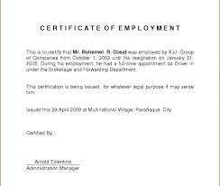 Employee Working Certificate Format Impressive Certification Of Employment Sample Certificate Of Employment Format