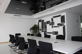 office meeting room. Interior, Modern White Office Meeting Room With Black Chairs And Conference Table Also
