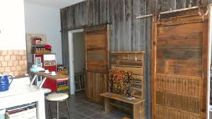 gorgeous rustic wooden barn door idea on rustic wooden wall with rustic bench storage and white