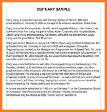 sample of obituary obituary examples bio letter sample