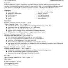 Financial Advisor Resume Best Personal Financial Advisor Resume Example Livecareer Intended 14