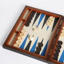 leather backgammon set slate