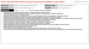 Computer User Support Specialist Resumes Resumes Templates
