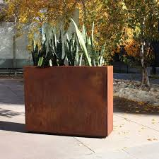 Cor ten steel Steel Plate Amazoncom Veradek Metallic Series Corten Steel Planter Box Reviews Wayfair