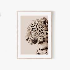 beige leopard wall art african leopard