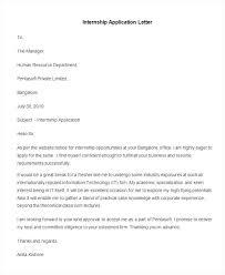 Best Application Letter Sample Internship Application Letter