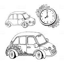 ベクトル落書き車と時計変な小さな車塗り絵 いたずら書きのベクター