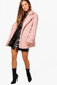 petite jenny double ted teddy coat antique rose casual obd 83692