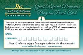 Discount Punch Card Inn On The Avenue Guest Referral Program Bed Breakfast Discount