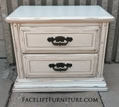 distressed white furniture. Nightstand In Distressed Antiqued White And Tobacco Glaze, With Hardware Painted Dark Bronze. From Furniture